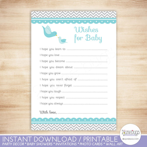 Little Bird Baby Well Wishes Baby Shower Activity in Blue and Gray