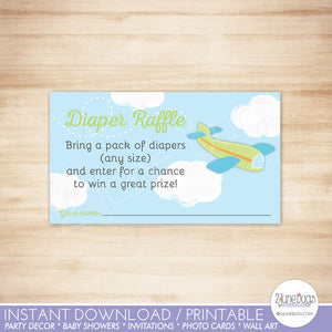 Airplane Baby Shower Diaper Raffle Ticket in Green and Blue
