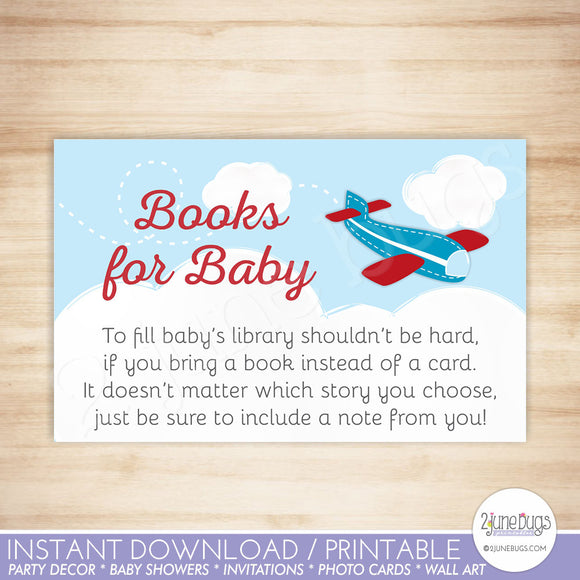 Airplane Baby Shower Books for Baby Card in Red and Blue