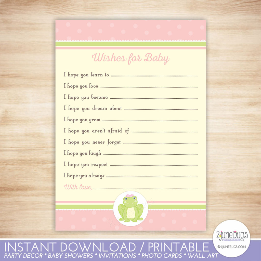 Frog Well Wishes Baby Shower Activity in Pink