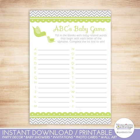 Little Bird ABC's Baby Shower Game in Green and Gray Chevron