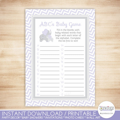 Elephant ABC's Baby Shower Game in Purple and Gray Chevron
