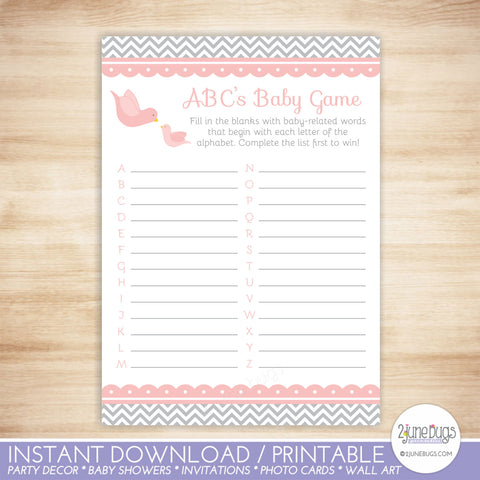 Little Bird ABC's Baby Shower Game in Pink and Gray Chevron