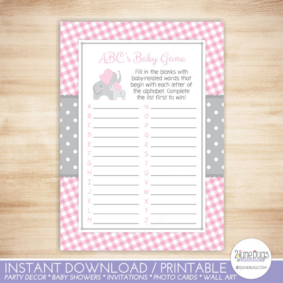 Elephant ABCs Baby Shower Game in Pink and Gray Gingham