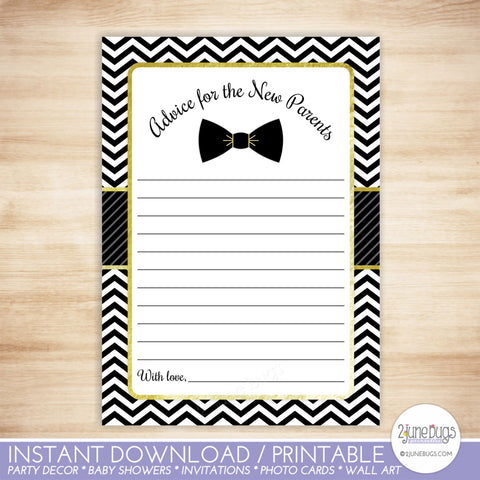 Bow Tie Baby Shower Advice for New Parents in Black and Gold Chevron