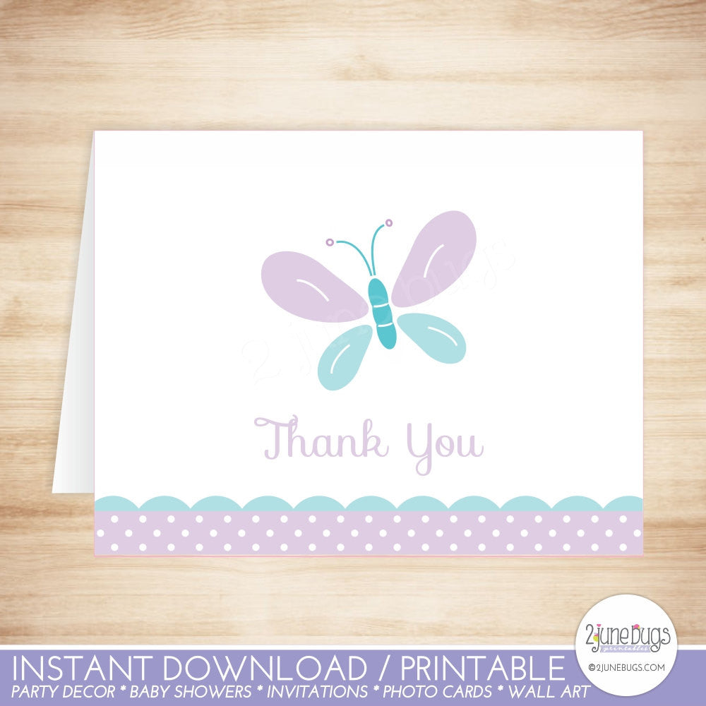 Purple and Blue Butterfly Thank You Card