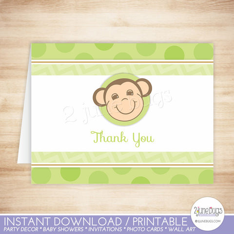 Green Monkey Thank You Card