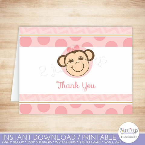 Monkey Thank You Card in Pink