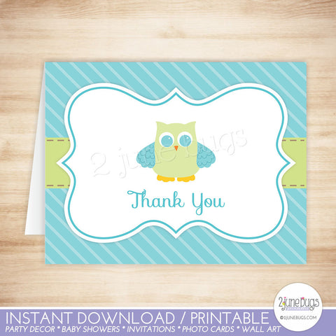 Owl Thank You Card Template
