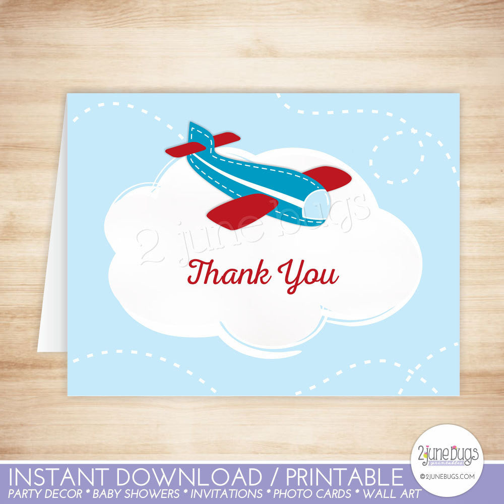 Retro Red and Blue Airplane Thank You Card