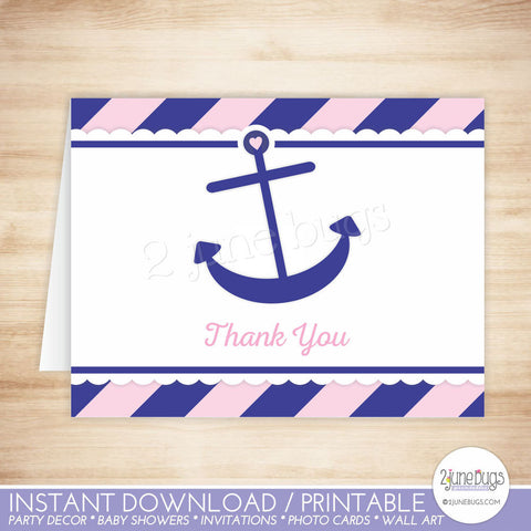 Pink and Navy Blue Nautical Anchor Thank You Card