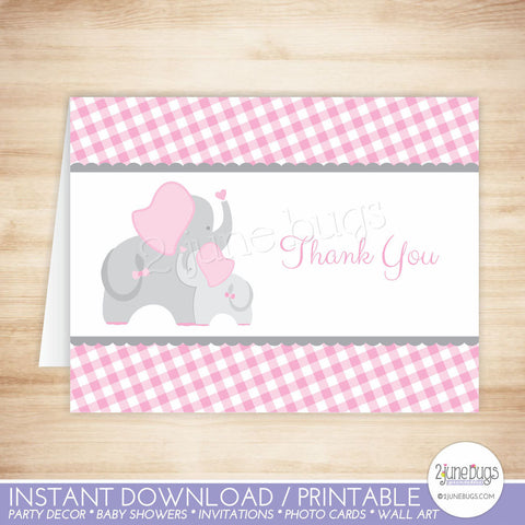 Elephant Thank You Card in Pink and Gray Gingham