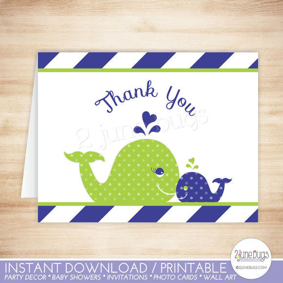 Navy Blue and Green Whale Thank You Card