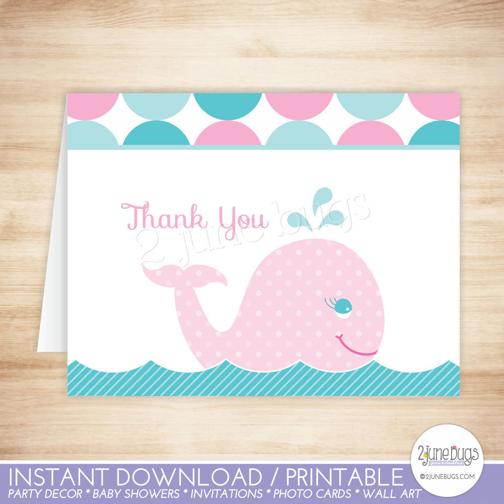 Mod Pink Whale Thank You Card