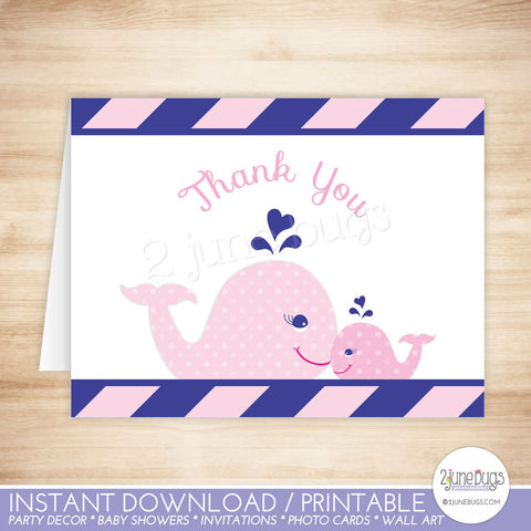 Pink and Navy Blue Whale Thank You Card