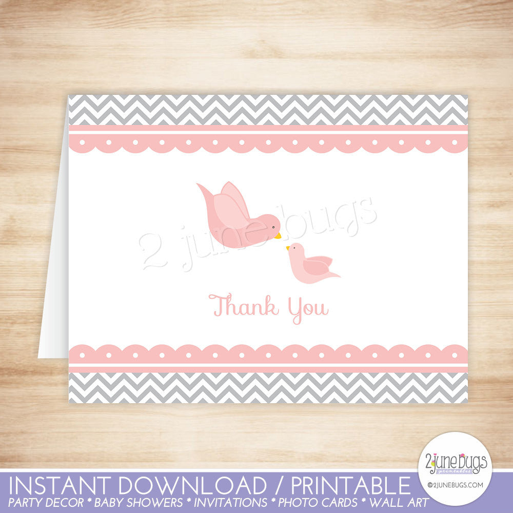 Pink Little Birdie Thank You Card