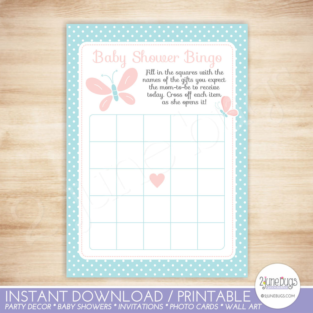 Butterfly Bingo Baby Shower Game in Pink and Turquoise
