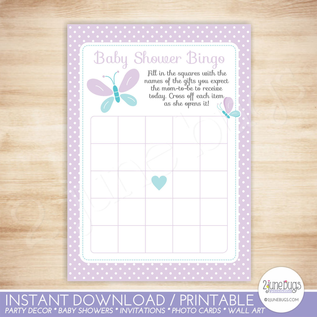 Butterfly Baby Shower Bingo Game in Purple and Turquoise