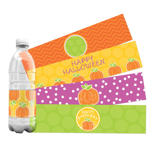 2 june bugs Pumpkin Party Printables - Water Bottle Labels for Fall Birthday Party or Halloween Party