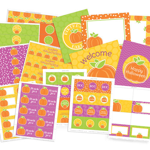 2 june bugs Pumpkin Party Printables - Fall Birthday or Halloween