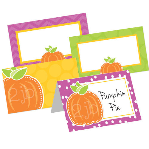 2 june bugs Pumpkin Party Printables - Folded Table Tent Cards