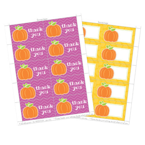 2 june bugs Pumpkin Party Printables - Favor tags for Fall Birthday Party or Halloween Party