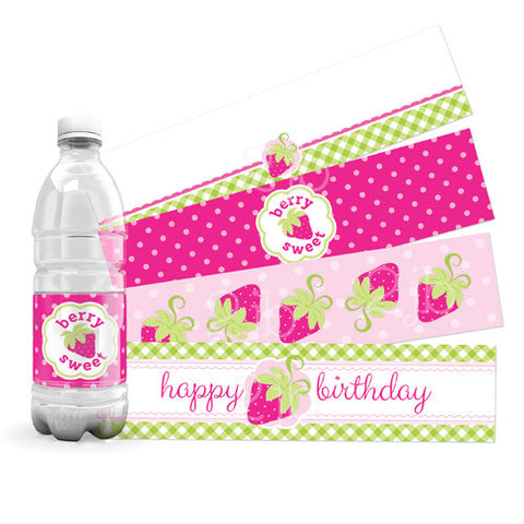 Strawberry Water Bottle Labels