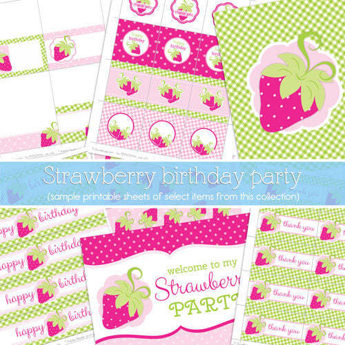 2 june bugs Strawberry Printable Party Package