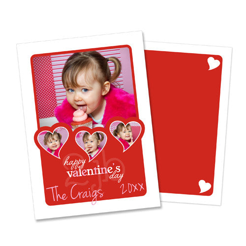 Swirly Heart Frames - Happy Valentine's Day Greeting Photo Card Template