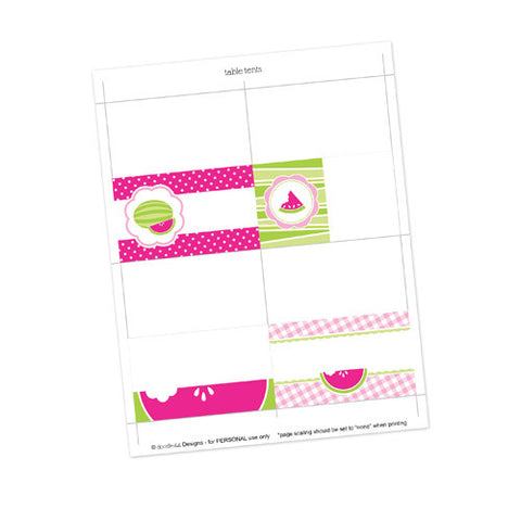 Watermelon Table Tent Cards