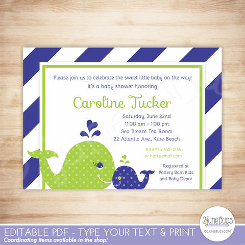 Whale Baby Shower Invitation (navy green)