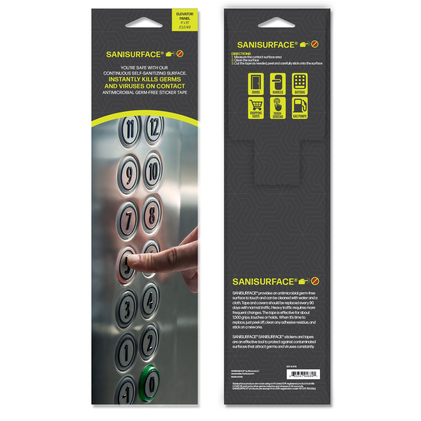 3243 SANISURFACE Elevator Buttons (Clear) - Includes 450 Stickers