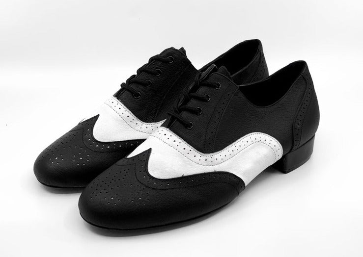 Men's leather sole 1950's & 1960's vintage inspired wingtip dance shoes by My Juju Dance Fever. Hand crafted with premium leather upper, leather inner, and leather sole for both indoor and outdoor dancing!. Bonus sports gel inner-sole for maximum comfort! Rubber heel for shock absorbance. High performance dance shoes. Now available at rockabillyaustralia.com!