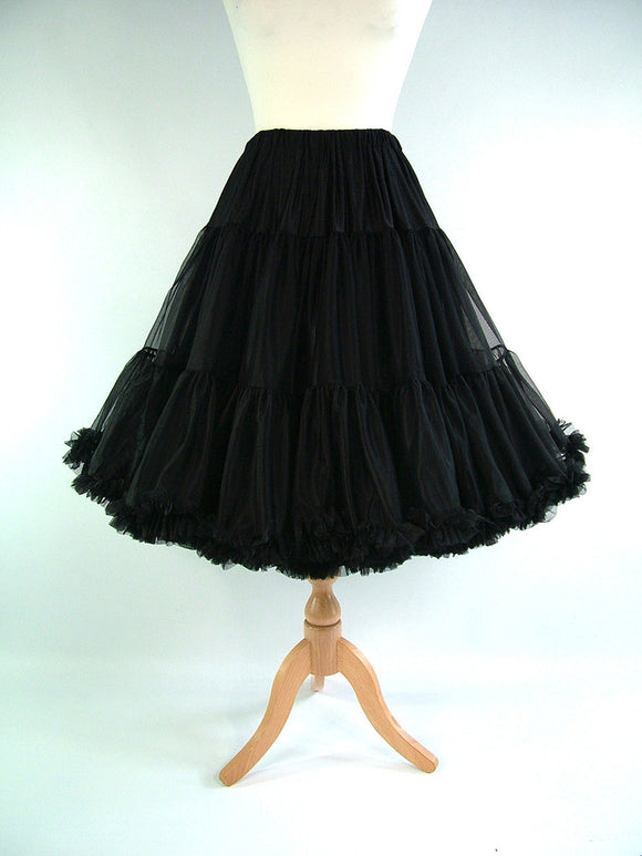 This uniquely designed, 3 layer petticoat by My Juju Dance Fever is 64cm long with an elastic waist for maximum comfort & flexibility.  Made with the softest premium materials.  Bottom tier has 3 layers to deliver a beautiful flare. One size fits most! Now available at Rockabilly Australia!