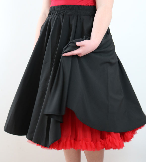 Premium full circle rock'n'roll skirt with elastic waist and extra deep pockets! Beautifully flowing, lightweight Cotton, Ryan & Spandex blend with 65cm length allowing the perfect rock'n'roll effect! Designed by My Juju Dance Fever featuring awesome extra deep pockets! Perfect for dancing on the go! Now available at Rockabilly Australia!