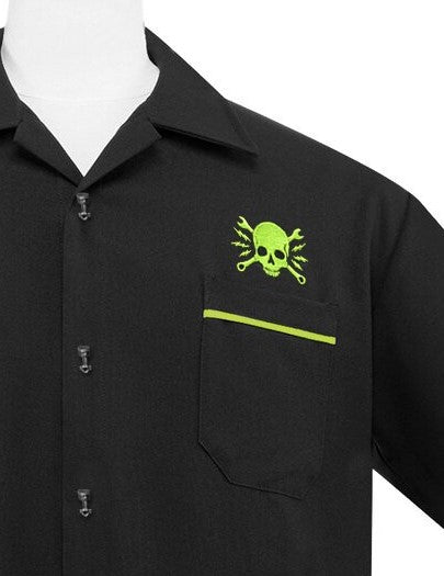 Skull Wrench Panel Bowling Shirt in Black & Lime