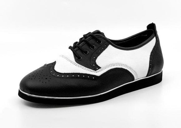 Ladies Black & White Wingtip Dance Shoes with Rubber Sole