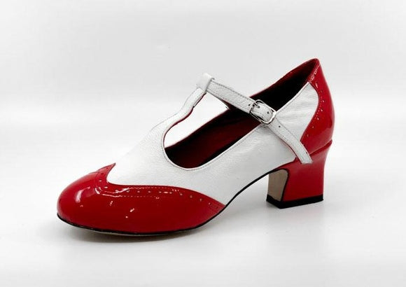 Ladies patent 1950s and 1960s vintage inspired wingtip leather sole dance heel by My Juju Dance Fever.   Hand crafted with premium leather upper, leather inner, and leather sole for indoor and outdoor dancing. Now available from rockabillyaustralia.com!