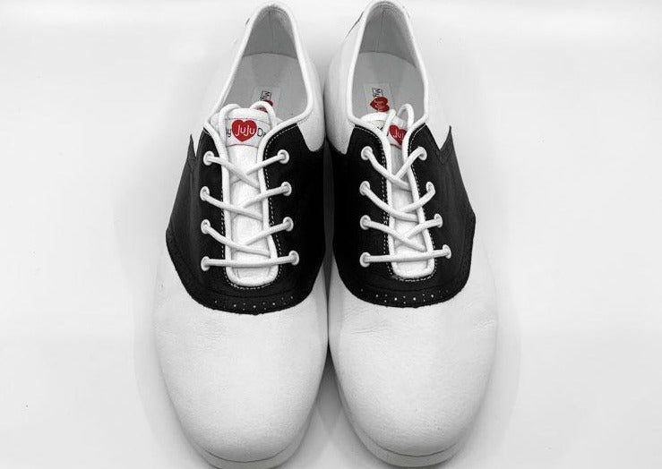 Mens White & Black Saddle Dance Shoes with Rubber Sole