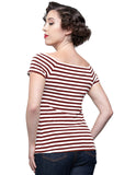 Sandra Dee Striped Top in Burgundy & Ivory