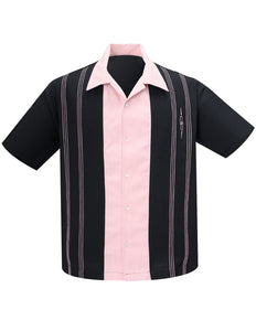"""The Harper"" Bowling Shirt in Black & Pink"