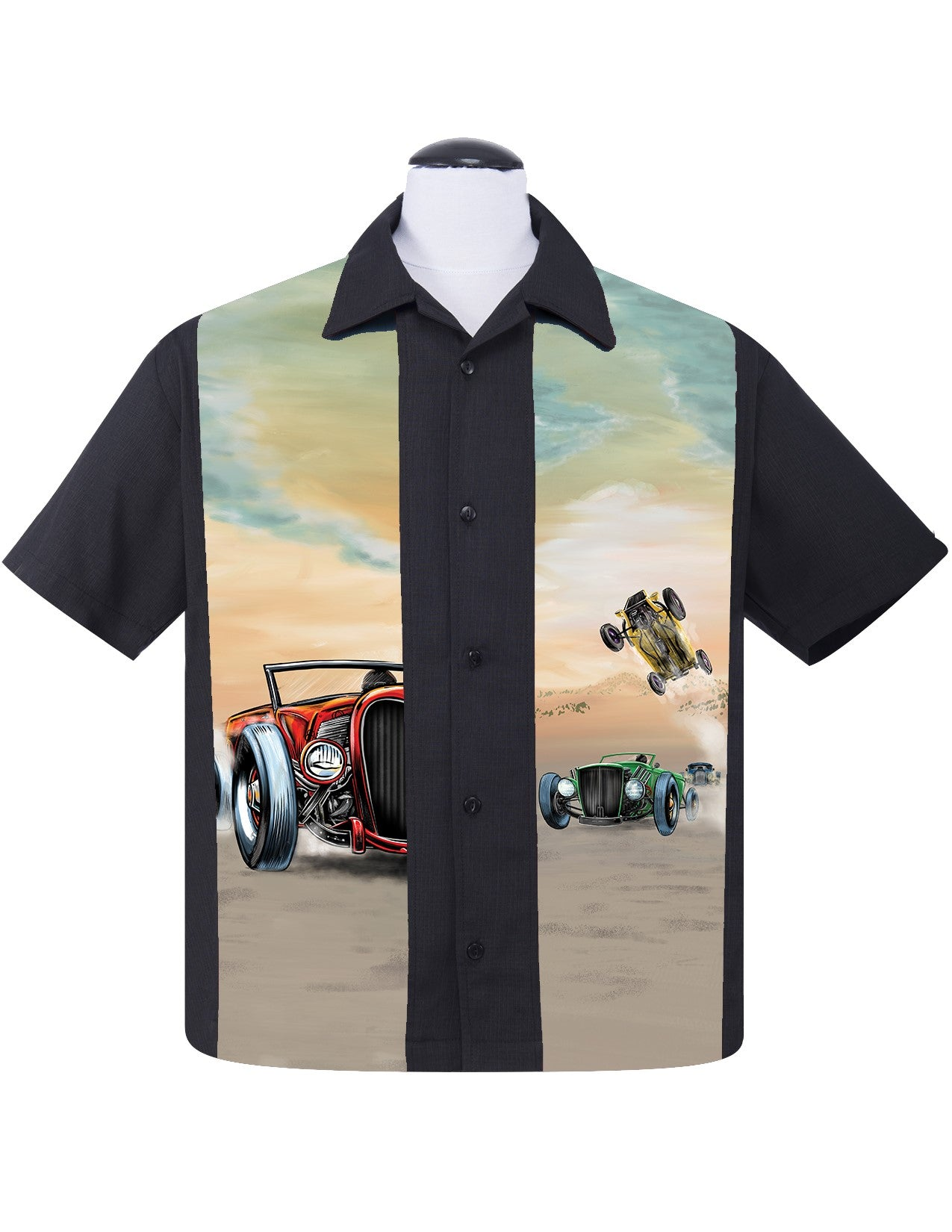 Hot Rod Derby Bowling Shirt in Black