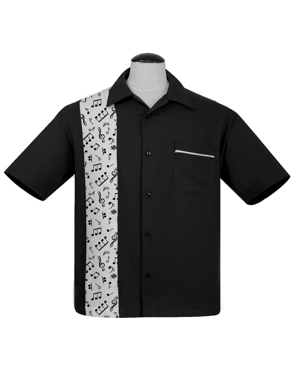 Music Note Print Panel Bowling Shirt in Black & White