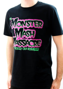 "Unisex ""Monster Mash Massacre- Psychobilly, Ska, Rockabilly"" Tee in black. Now available from Rockabilly Australia in sizes Small to Extra Large!"