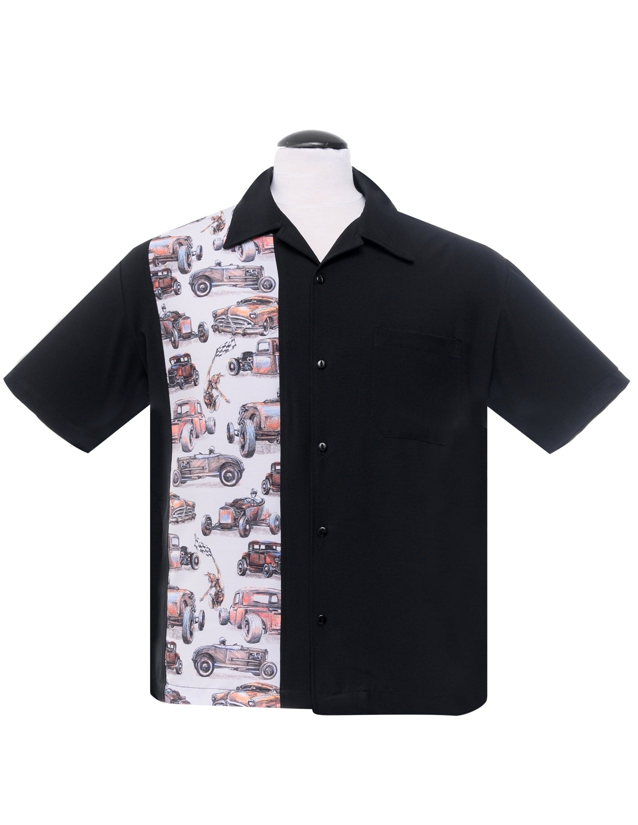 Dragstrip Single Panel Bowling Shirt in Black