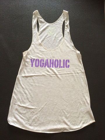 YOGAHOLIC in Oatmeal with Purple by GrizzyLove Conscious Wear