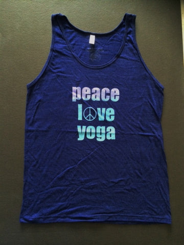 PEACE, LOVE, YOGA unisex sleeveless tee in Indigo by Grizzy Love
