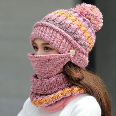 SUOGRY Winter Mask Hat Scarf Set Thick Warm Women Winter Accessories Fleece Inside Knitted Hat Scarf Set 3pcs Winter Riding Hats