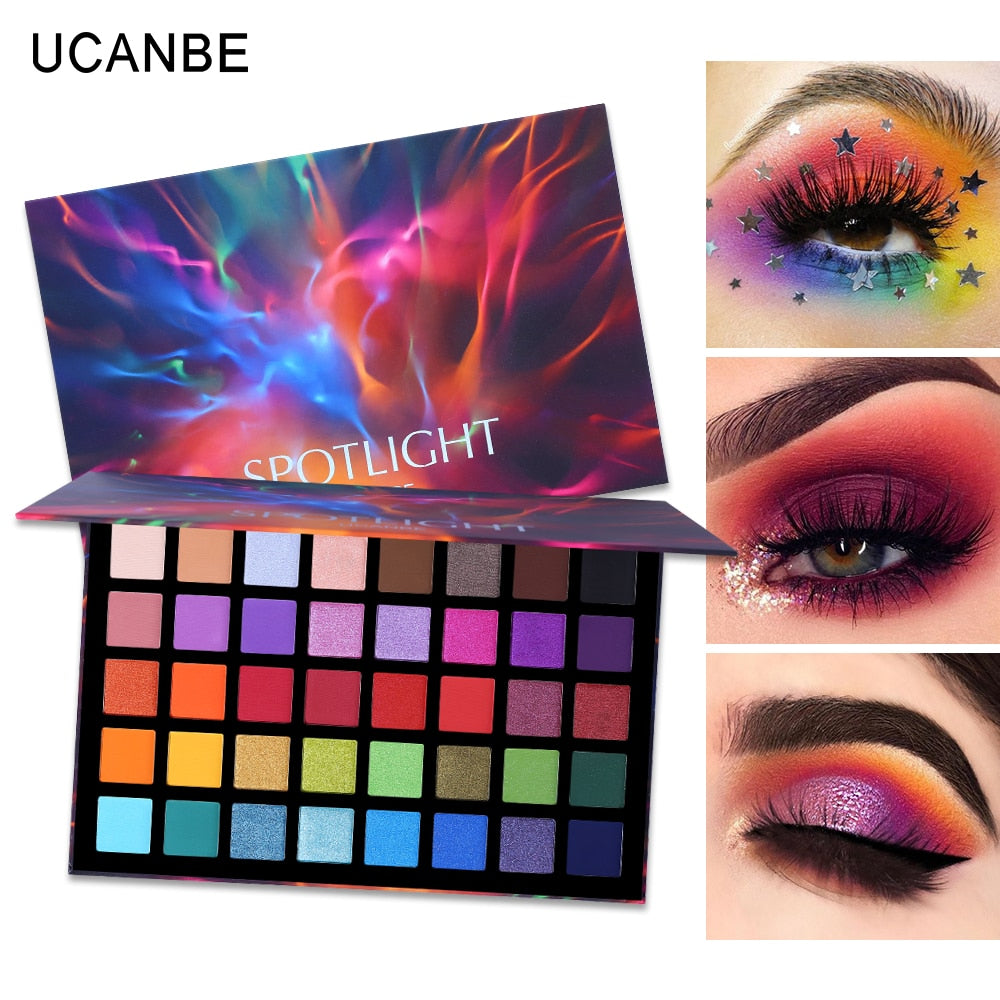 UCANBE Spotlight 40 Color Eye Shadow Palette Colorful Artist Shimmer Glitter Matte Pigmented Powder Pressed Eyeshadow Makeup Kit
