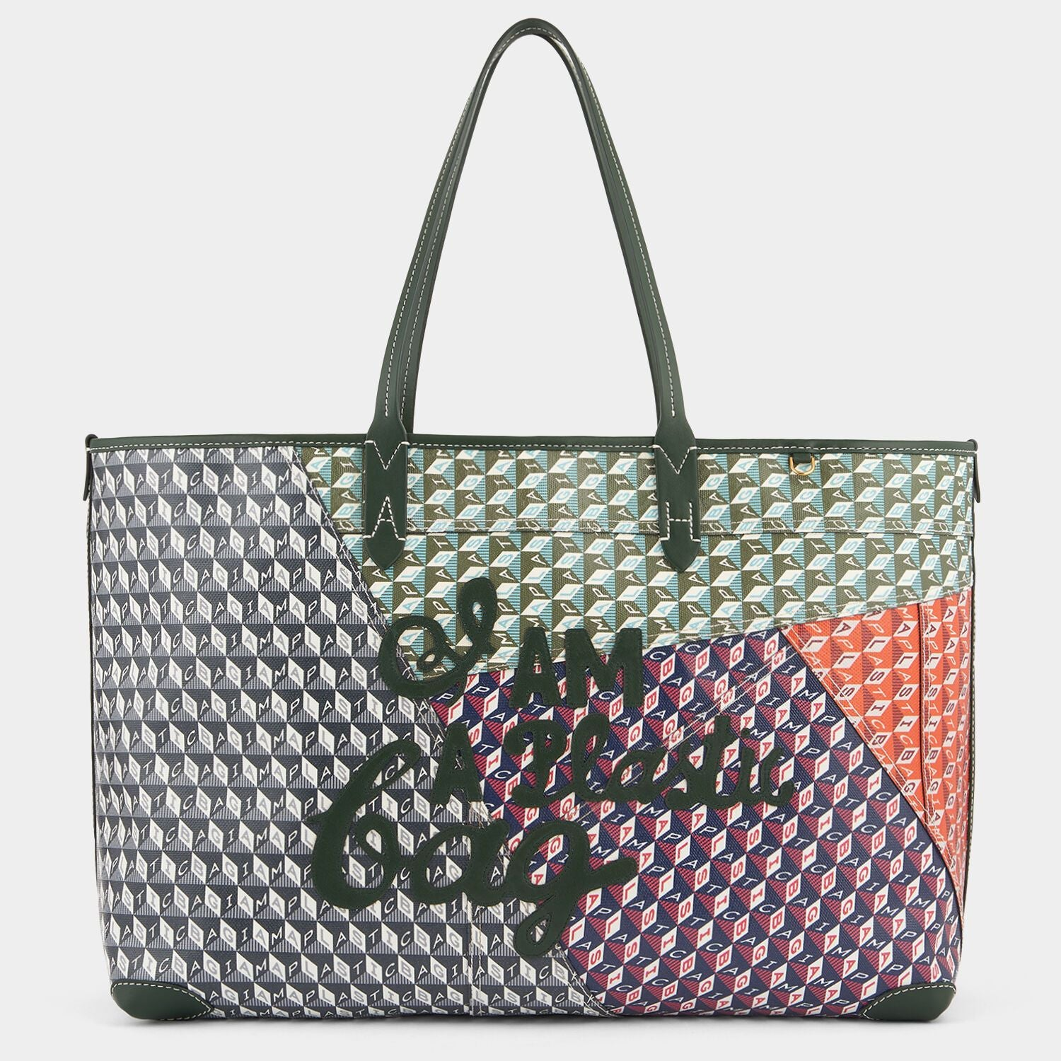 Patchwork I AM A Plastic Bag Motif Tote